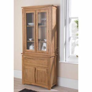 Crescent solid oak modern furniture small glazed dresser display cabinet