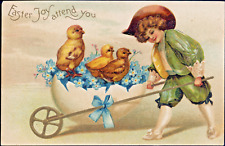Easter~Clapsaddle? BOY PUSHES CHICKS IN EGGSHELL CART~GOLD~IAP Antique Postcard
