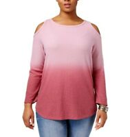 3X woman Style & Co. Womens Pink Ombre Cold Shoulder Pullover Top Shirt Plus NEW