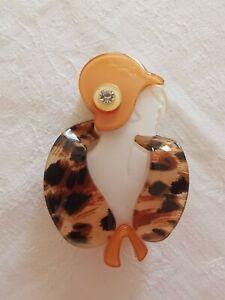 Art Deco Lady Design Plastic Brooch