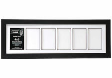 6 Opening Glass Face 8x26 Black Picture Frame Holds 4x6 Media White Collage Mat