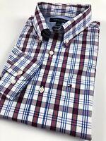 TOMMY HILFIGER Shirt Men's Crisp Poplin Maroon White Multi Checks Classic Fit