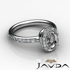Diamond Engagement Ring Oval Semi Mount 18k White Gold Halo Pave Setting 0.54Ct