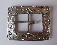 Antique Art Nouveau Repousse Sterling Silver Floral Belt Ladies Buckle 26.4G