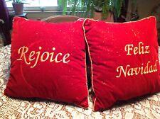 "2 Velvety Red Holiday Pillows~Feliz Navidad~Rejoice~Gold Piping Flecks~11"" Sq~VG"