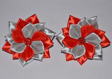 kanzashi Paire de Main en Satin Rose Fleur élastique de cheveux élastique//ruban//Clips