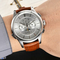 45mm PARNIS Silver Dial Leather strap seagull Multifunction Automatic Mens Watch