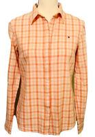 Tommy Hilfiger Women's Button Up Shirt Orange Peach Checkered Long Sleeve S