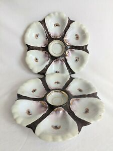 Set of Two Antique Oyster Plates, Unmarked - Very Pretty!