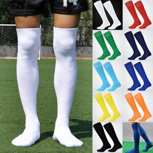 Men Sport Football Soccer Long Socks Solid Knee High Towel Bottom Non-slip Socks