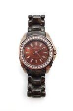 ANNE KLEIN Ladies Brown Resin & Brass Swarovski Crystal Dress Watch 10-9669BMBN