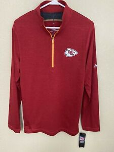 New NFL Kansas City Chiefs  Majestic Men's Quarter-Zip Pullover Sweatshirt NWT