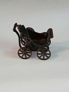 Vintage Durham Industries #17 Die Cast Bronze Miniature Baby Buggy Stroller