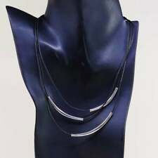 """16"""", Silpada Necklace N1571 925 Cascading Black Leather Cords & Sterling Bars"""