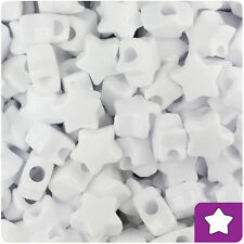 250 White Opaque 13mm Star Pony Beads Plastic Made in the USA