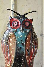 1x Skulptur Eule Metall Bunt 56 cm mit Monokel Handarbeit hand bemalt