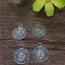 30pcs12x15mm Coin Tibetan Silver fit Pendants beaded bracelet Necklaces Charms