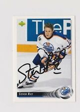92/93 Upper Deck Steven Rice Edmonton Oilers Autographed Hockey Card
