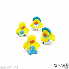 12 Baby Shower Favor MINI Boy BLUE RUBBER DUCKS DUCKY