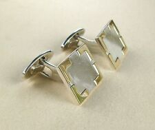 Sterling Silver & 14k Gold Border Rectangle Cuff Links~Free Shipping!