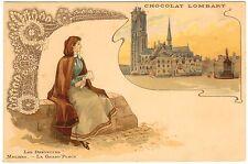 POSTCARD FRENCH CHOCOLAT LOMBART LACE MAKING MALINKS