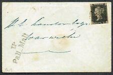 1841 1d Black Pl 5 MD 'T.P/Pall Mall' to Warwick Fine Used Cat. £750.00