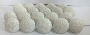 Set of 20 Mix Vintage White Cream Creme Flower Ceramic Knobs Door Handle Cabinet