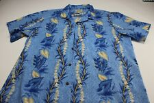 Royal Hawaiian Creations Made Hawaii Blue Floral Hawaiian CAMP SHIRT 3XL Slim