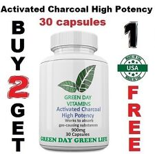 Activated Charcoal High Potency 900 mg - Digestive Health Made USA Free shipping