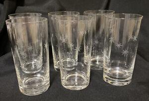 8 Vintage Starburst Etched MCM Drinking Glass Tumbler Bar Ware 12oz