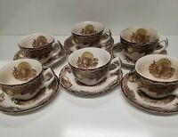 Vintage American Tradition King Tom 6 Coffee Cups w/ Saucers Thanksgiving Turkey