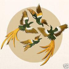 1set 4pcs DIY Phoenix Embroidery Patches Iron-on Clothes Stickers Applique Badge