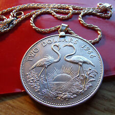 "1966 Bahamas 1oz .925 Silver Flamingos Pendant on a 22"" Italian .925 Rope Chain"