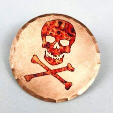 Skull and Crossbones Flames Forged Copper Golf Ball Marker by Sunfish