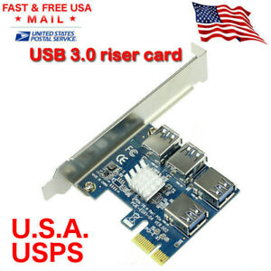 PCI-E to USB Adapter 4-port PCI-E X1 to USB 3.0 Riser Card Extender Board Mining