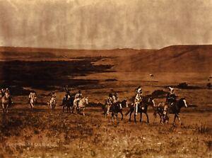 Vintage EDWARD CURTIS Atsina Indians Horses Landscape GOLDTONE Photo Art 12x16