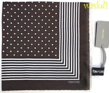 TOM FORD Espresso silk batiste Pochette LINES BORDER Pocket Square NWT Authentic
