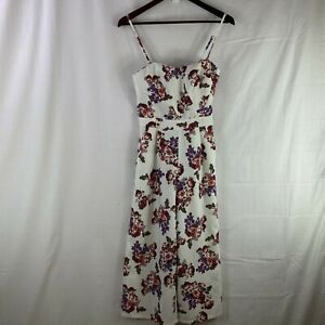 Dotti Size 10 Womens White Floral Pantsuit Strappy Jumpsuit Wide Leg Stretchy