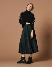 cherrie424: Sandro Paris Pleated Plaid Woven Skirt