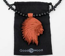 Goodwood NYC Authentic Wood Chief Red w/ Black Wooden Beaded Necklace