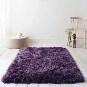 Diva Purple Plum Non Shed Soft Thick Fluffy Polyester Shaggy Living Room Rugs