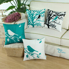 Set of 4 CaliTime Pillow Shells Cushion Cover Shadow Bird Printed Home Sofa 45cm Teal Color - 4pcs/set