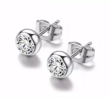 9K  WHITE GOLD FILLED STUD EARRINGS MADE WITH 0.5 CARAT SWAROVSKI CRYSTALS WG26