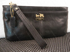 Coach Madison Black Leather Zip Clutch / Large Wristlet 45917