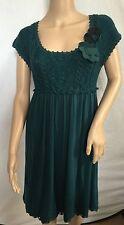 NEW Anthropologie Moth Green Flower Dress Size S 4-6