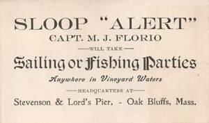 OAK BLUFFS, MARTHA'S VINEYARD, MA, CAPT FLORIO & BOAT FOR HIRE, ADV/ TRADE CARD