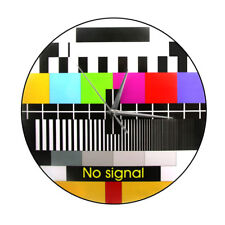 Back In The Day Wall Clock Retro TV Test Screen Background No Signal Adjustment
