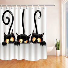 Halloween cute cat Shower Curtain Bedroom Waterproof Fabric & 12hooks 71*71in