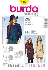 BURDA YOUNG SEWING PATTERN LADIES Classy jeans jacket  6 - 18  7018