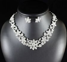 Floral Clear Rhinestone Crystal Necklace Earring Set Bridal Prom Pageant N101